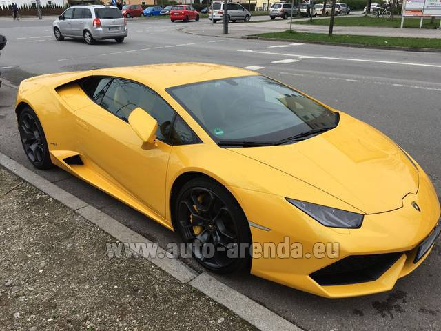 Rental Lamborghini Huracan LP 610-4 Yellow in San Sebastian