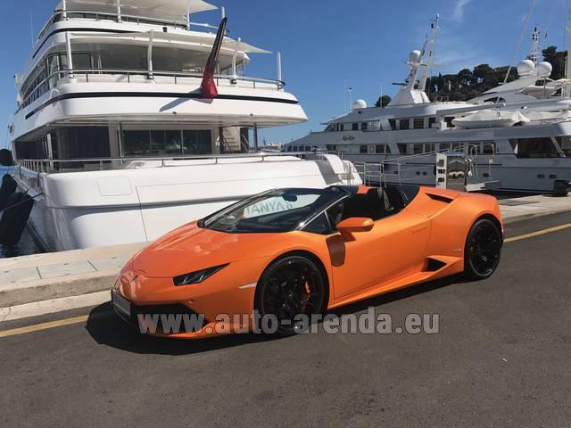 Rental Lamborghini Huracan Spyder Cabrio in San Sebastian