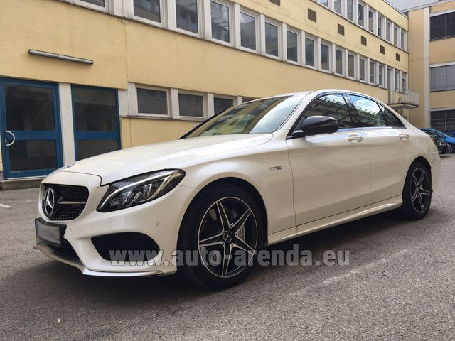 Rental Mercedes-Benz C-Class C43 AMG Biturbo 4MATIC White in San Sebastian