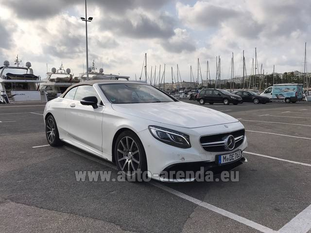 Rental Mercedes-Benz S 63 Cabrio AMG in Playa Puerto Banus